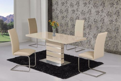 MACE High Gloss Extending 120-160 Dining Table and chairs